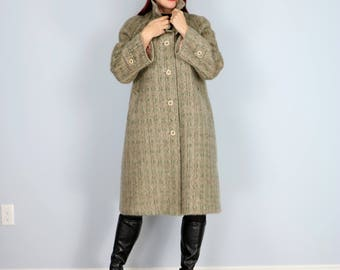 1950 - 60s Coat - Trapeze Mohair Long Winter Coat - Small/Medium - Classic Neutral Taupe Grey Beige - Warm Wooly Winter Vintage Coat