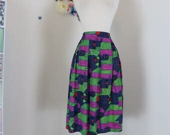 "1980s Skirt - Midi - Abstract Print - Vintage Handmade - Blue Green Purple - Summer Spring Full Skirt - Elastic Waist - 23""-26"" Size XS/S"