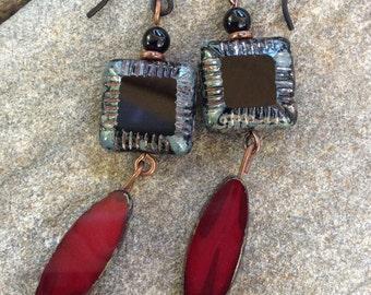 Earrings RedEarrings BlackEarrings Gemstone Onyx CzechGlass Rustic Boho Dangle Drop GiftsForHer Handmade