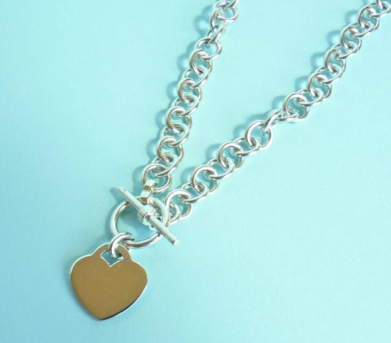 HEART NECKLACE ~ Sterling Silver ~ 7mm 16.5 Inch Cable Chain Link Toggle Clasp Necklace ~ Engravable Heart ~ Not Tiffany Looks Like Tiffany