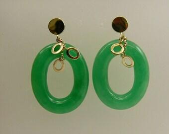 Green 20 x 25 mm Jade Earrings 14k Yellow Gold