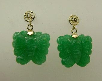 Green 15.2 x 13.3 mm Jade Earrings 14k Yellow Gold