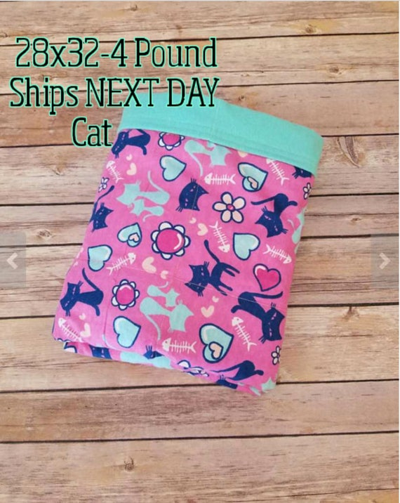 Kitty, Cat, 4 Pound, WEIGHTED BLANKET, Ready To Ship, 4 pounds, 28x32 for Autism, Sensory, ADHD, Calming, Anxiety,