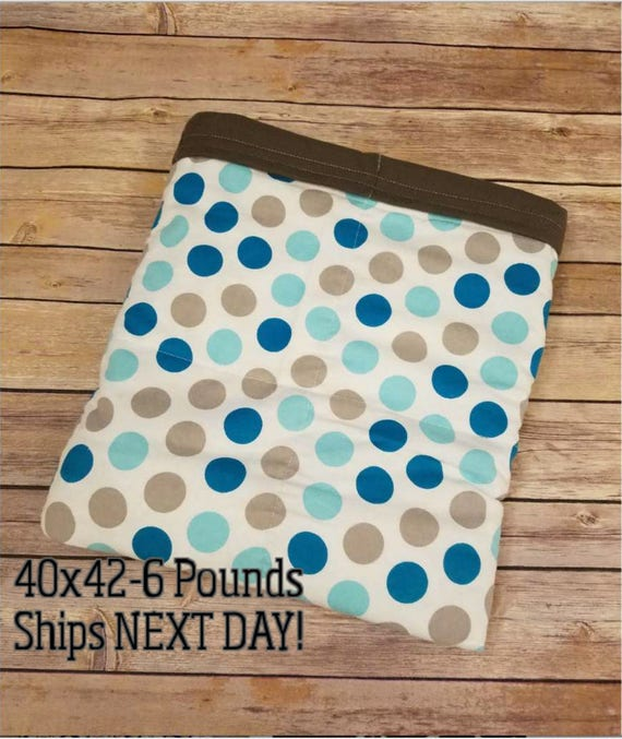 Teal Gray Dots, 6 Pound, WEIGHTED BLANKET, Ready To Ship, 6 Pounds, 40x42 for Autism, Sensory, ADHD, Calming