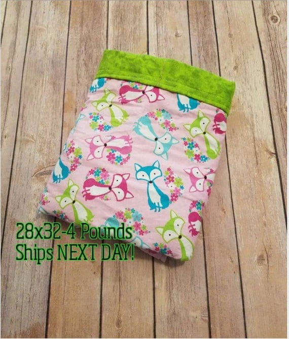 Foxes, 4 Pound, WEIGHTED BLANKET, Ready To Ship, 4 pounds, 28x32, for Autism, Sensory, ADHD, Calming, Anxiety,