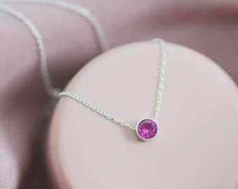 14kt Gold Vermeil Birthstone Necklace, Solitaire Stone Necklace, Solitaire Birthstone Necklace, Rose Gold Birthstone Necklace, CZ Necklace