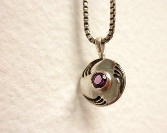 Amethyst Deco Necklace, Amethyst Deco Pendant, February Birthstone, Aquarius pendant