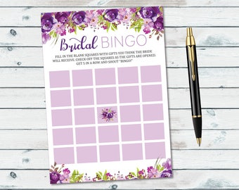 Purple Floral Bridal Bingo Blank Cards, Bridal Bingo Game, Wedding Bingo Printable Cards, Purple Flowers Bridal Shower Game