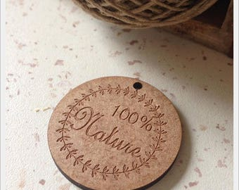 Set of 25 tags in wood with writing * 100% Nature * D4cm