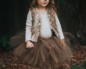 Deer Tutu Skirt, Brown Tutu, Halloween Tutu, Halloween Skirt, Halloween Costume, Knot Sew Photogenic, Avry Couture Creations Collab