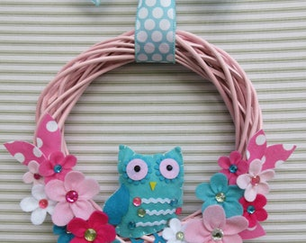 Owl Wreath, Pink Owl Wreath, Felt Flower Wreath, Girl Owl Wreath, Pink Willow Wreath