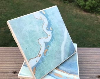 Blue ocean marble coasters- set of 4