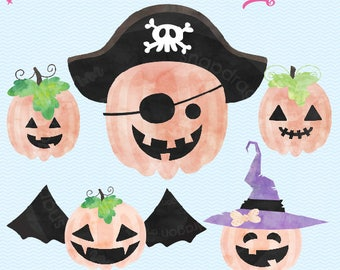 Make Your Own Jack O' Lantern Clip Art, Pumpkin Clip art, Fall clip art, Watercolor Pumpkin, Halloween clip art, Commercial License Included
