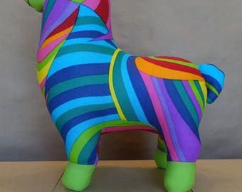 Stuffed Llama in Multi Colored Swirls