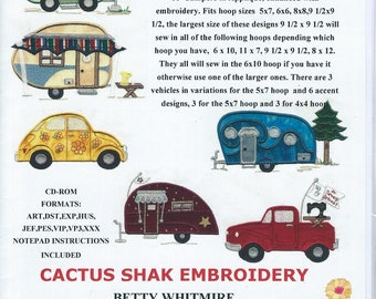 Classy Vintage Campers:  machine embroidery applique.
