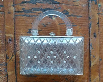 Vintage 1950s Lucite Purse/Rare Clear Lucite Bag/Vintage Perspex Clutch
