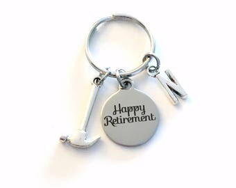 Retirement Gift for Dad, Handyman Keychain, Construction Worker Key chain, 2018 him Boss Keyring Key ring Retire Coworker Initial letter men
