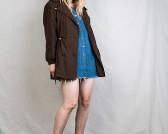 AMAZING Vintage Chocolate Brown Coat / S / 90s vintage coat jacket retro hipster super soft cinched waist overcoat