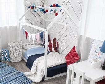 House bed, children bed home, toddler bed, floor bed, Montessori bed, home bed nursery frame bed original bed baby bed home design HEADBOARD
