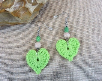 Earrings crochet heart crochet cotton green earrings, textile jewelry, heart jewelry crochet jewelry, Pearl Earring