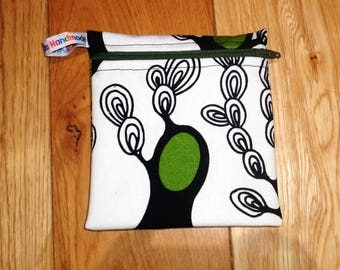 Abstract Trees Small  Poppins Waterproof Lined Zip Pouch - Sandwich bag - Eco - Snack Bag - Bikini Bag - Lunch Bag - Make Up Bag