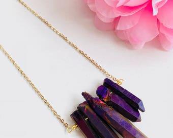 Quartz titanium necklace, quartz necklace, purple mystic quartz, natural stone necklace, quartz crystal necklace, beads, quartz pendant