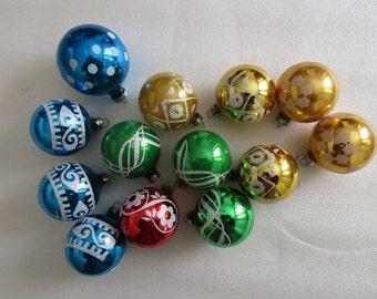 Lot of 13 Vintage Mercury Glass Christmas balls