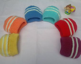 (Choose from 6 colors), hand knitted baby hats