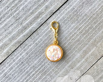 Planner Charm | White Sparkle Druzy Planner Charm, Zipper Pull Charm, Gold Notebook Charm, Druzy Purse Charm Backpack Charm Decoration