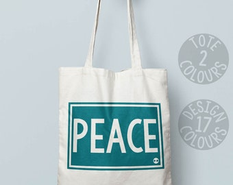 Peace personalised eco-friendly cotton tote bag, book bag, shoulder bag, gift ideas for teen girl, gift for activist, protest march, resist