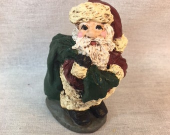 Handpainted Miniature Santa with Bag