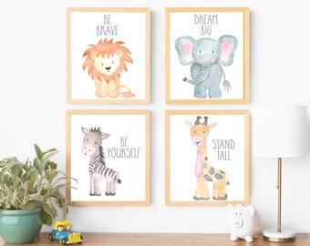 Nursery Art Boy Nursery Art Watercolor Nursery Art Printable Nursery Art  Animals Elephant Lion Giraffe Zebra