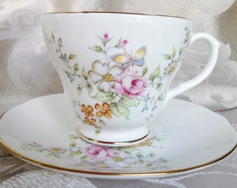 English Teacup and Saucer by Duchess Bone China Flower Spray Design