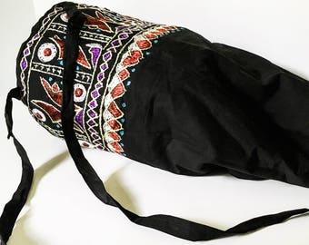 Black textile backpack - Boho backpack - Fabric backpack - Hippie backpack - Drawstring bag - Ethnic backpack