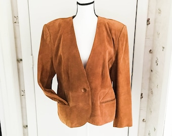 Lord and Taylor suede blazer - Women's leather jacket sz 16 - Collarless suede leather blazer - Brown suede jacket - Women's sz 16 blazer