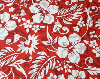 Red Hawaiian Fabric, Hibiscus Print in red and white, 100% cotton poplin, aloha shirt material, by the half yard or yard