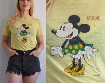 70s Minnie Mouse Threadbare Paper Thin T Shirt // Small // Mickey Mouse Disney // 50/50 Super Soft