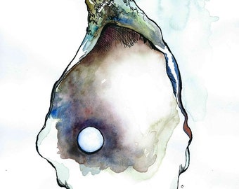 First Try, Original Oyster Ink & Watercolor Illustration