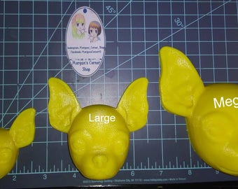 Chihuahua Head Plastic Mold or silicone mold, Chihuahua mold, bath bomb mold, soap mold, dog mold, resin mold, puppy mold, 3d mold, clay