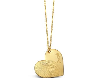 Gold Filled Custom Fingerprint and Name Heart Necklace - Personalized Jewelry - Fingerprint Jewelry - Memorial Jewelry - Memorial Gift