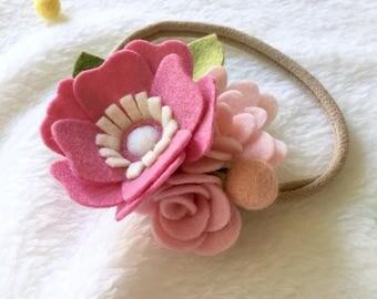 Baby / Girl Pink Felt Flower Headband / Baby Hair Accessories - Ready To Ship
