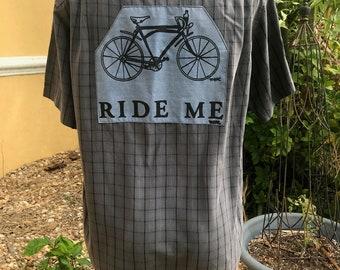 Bike Shirt, Bicycle Shirt, Cycling Shirt, Hand Drawn Eco Bicycle Shirt, Medium, Sale.