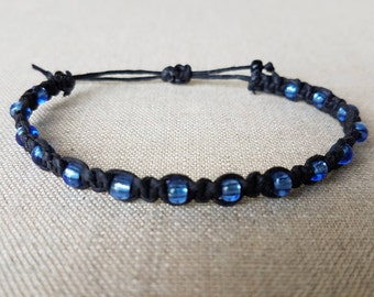 Square Knot Black Thread Bracelet with Blue Clear Beads-Macrame