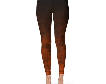 Orange Ombre Yoga Pants - Grunge Orange and Black Leggings, Orange Leggings, Fashion Leggings, Footless Tights
