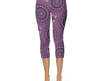 Capris, Mandala Leggings, Purple and Gray Yoga Pants, Printed Leggings, Flower Pattern Yoga Tights, Art Leggings