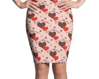 Love Always Printed Skirt, Stretchy Valentine's Day Hearts Print Skirt, Women's Pencil Skirt