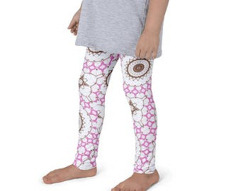 Yoga Pants for Kids, Leggings, Pink and Brown Mandala Design Leggings for Girls, Children's Activewear