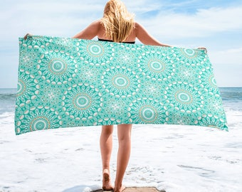 Turquoise Beach Towel, Lightweight Blue and White Mandala Blanket for Beach or Pool, Towel Cover Up