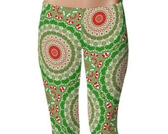 Capri Christmas Leggings, Women's Holiday Capris, Red and Green Mandala Yoga Pants, Printed Tights
