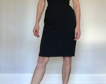 1950's sequence black pencil dress// Holiday Mad Men rockabilly Audrey Hepburn Breakfast at Tiffanys// Vintage Ann Barry Jr// Small 4-5 USA